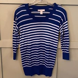 Banana Republic Striped Scoop Neck Sweater Blue XS